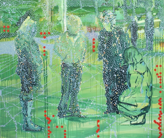 'Exhibition group No2', 2011, oil and acrylic on linen, 165 cm x 195 cm