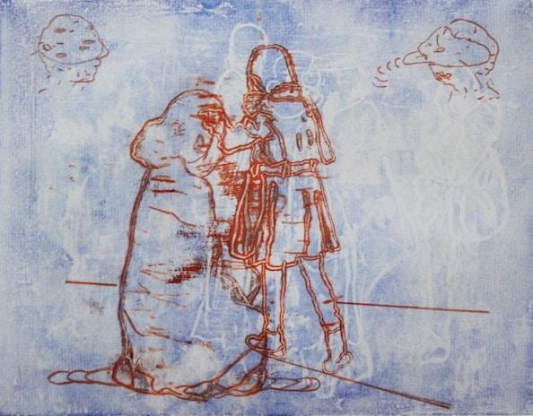 'Masked Group (Dup) LXXVIII', Monoprint series, 2014, 40 x 40 cm, framed