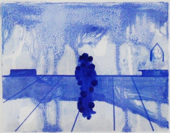 'Masked Group (Figure) XXIII', Monoprint series, 2014, 40 x 40 cm, framed