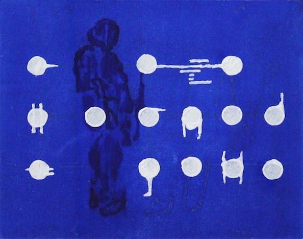 'Masked Group (Figure) XXXVI', Monoprint series, 2014, 40 x 40 cm, framed