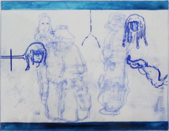 'Masked Group XII', Monoprint series, 2014, 40 x 40 cm, framed
