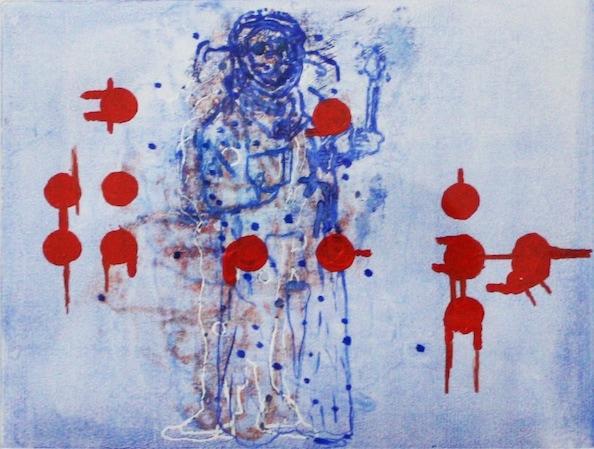 'Masked Group XLV', Monoprint series, 2014, 40 x 40 cm, framed