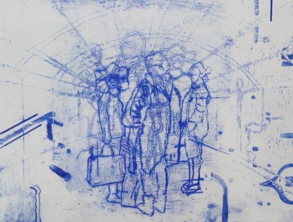 'Masked Group XV', Monoprint series, 2014, 40 x 40 cm, framed
