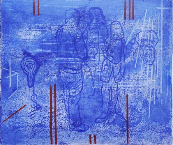 'Masked Group XXXIX', Monoprint series, 2014, 40 x 40 cm, framed