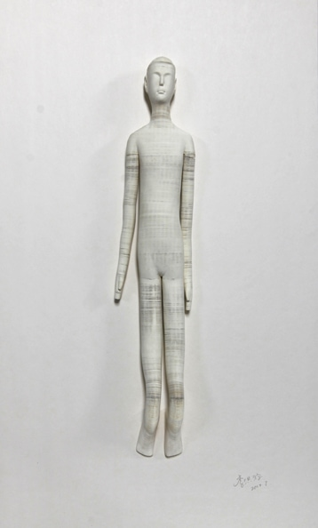'Smart doll 1', 2012, paper, glue, edition of 1, dimensions compounded 78 x 48 x 8 cm