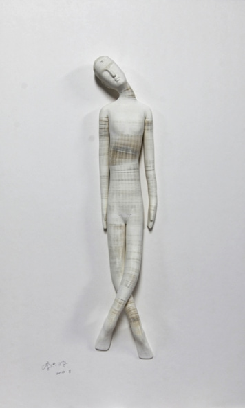 'Smart doll 2', 2012, paper, glue, edition of 1, dimensions compounded 78 x 48 x 8 cm