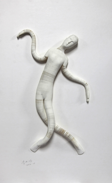 'Smart doll 4', 2012, paper, glue, edition of 1, dimensions compounded 78 x 48 x 8 cm