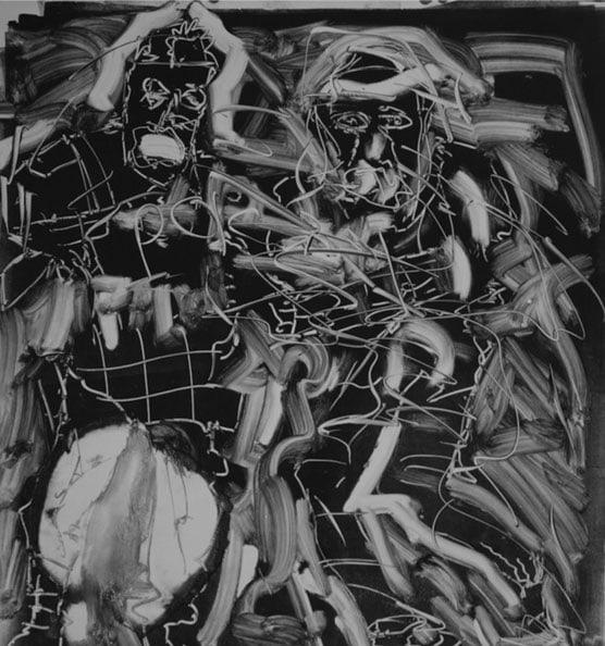 Arrest at Marikana', 2012, monotype, 80 x 77 cm