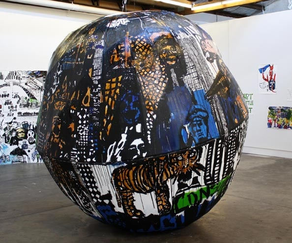 'Blow by Blow', 2011, steel, wood, canvas, ink, acrylic and shellac, diameter 300cm