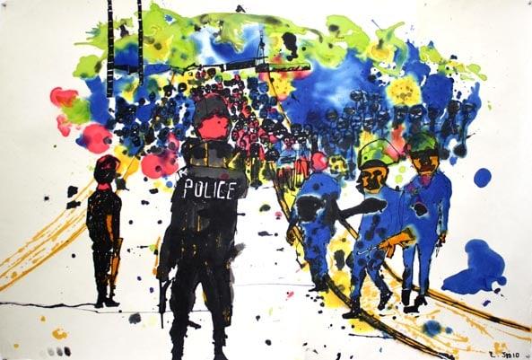 'CÔte d Ivoive', 2011, ink on paper, 100 x 150 cm