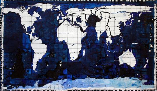 'Big Bad World', 2009, ink on paper, 135 x 230 cm