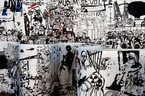 Detail, 'Conscience of Revolt', 2011, Ink on paper, 2 scrolls,115 cm x 1000 cm