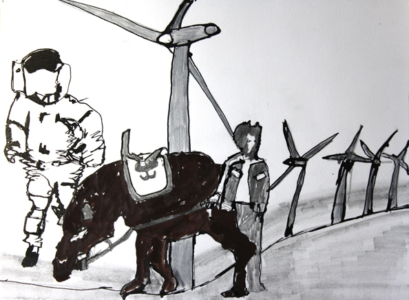 'Don Quixote and the Astronaut', 2010, ink on paper, 28 x 38 cm