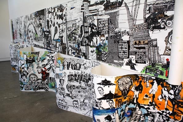 'Fukushima and the World Today', 2011, ink on paper, 115 x 1000 cm (above)<br />