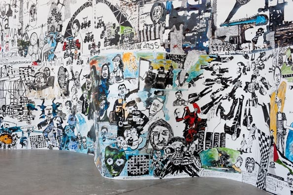 'Fukushima and the World Today', 2011, ink on paper, 115 x 1000 cm (above)<br /> 'Geronimo', 2011, ink on paper, 115 x 1100 cm (below)