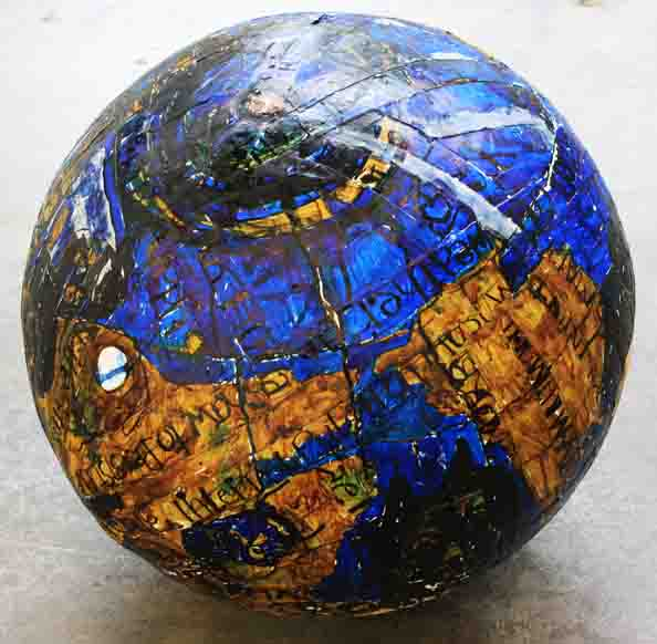 'Globe', 2010, papier mâché, ink on paper, 70 cm in diameter