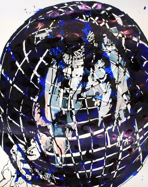 'Monkey Globe', 2010, ink on paper, 125 x 100 cm