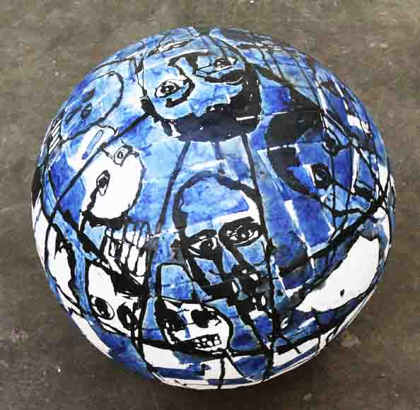'Small Globe', 2010, papier mâché, ink on paper, 60 cm in diameter