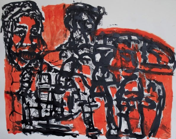 'Steve and the Car Guides', 2012, monotype, 77 x 96 cm