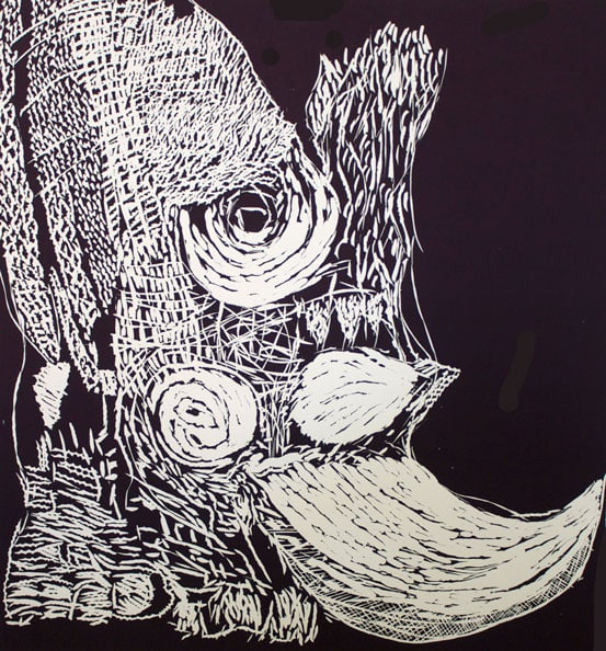 'The Rhino Cutters', 2012, Linocut, Somerset Soft White 300 gsm, 65cm x 60 cm (unframed size), edition of 7
