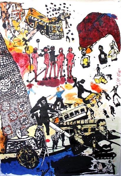 'Victory, Love, Hope, Optimism', 2011, ink on paper, 200 x 139 cm