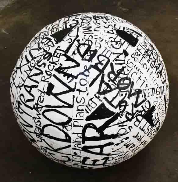 'Writing Globe', 2010, papiermâché, ink on paper, 70 cm in diameter