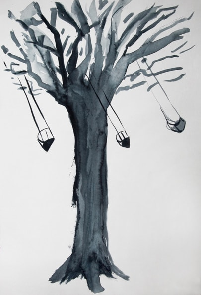 'Baum mit Wiege', 2010, water color on paper, 30 x 40 cm