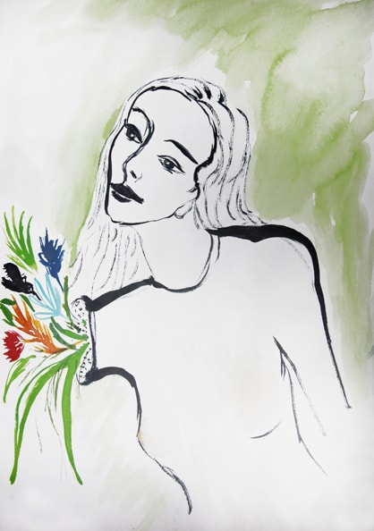 'Die Geliebte', 2010, water color on paper, 30 x 40 cm