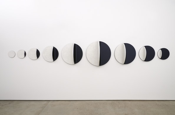 Candescent Moon Linear: No,2, 2013, Duck egg shell, MDF, beeswax, oil paint, 70 x 453 x 40 cm