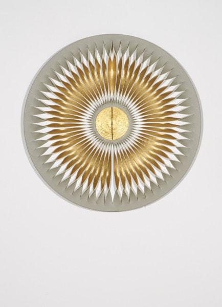 Liquid Light: Butterfly 13, 2012, canvas, MDF, acrylic, pins, 50 cm diameter