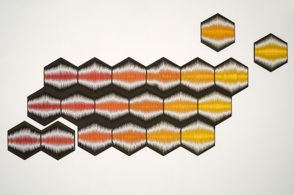 Liquid Light: Honeycomb No. 1<br /> 2011, canvas, acrylic, timber, pins, variable size and orientation, 190 x 360 cm