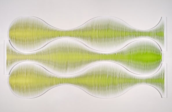 Liquid Light: Horizontal Triptych No 1<br /> 2010, canvas, acrylic, timber, pins, 152 x 298 cm (overall size)