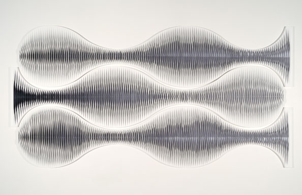 Liquid Light: Horizontal Triptych No 2<br /> 2010, canvas, acrylic, timber, pins, 152 x 298 cm (overall size)