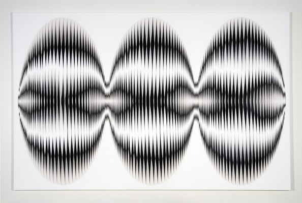 Liquid Light: Shield No. 1, 2013, acrylic, canvas, timber, pins, 180 x 280 cm