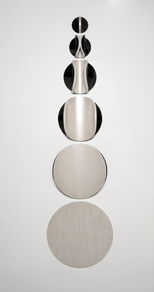 Lunar Descent: No. 3 (6 pieces)<br /> 2010, Hoop pine ply, iridescent acrylic, mirror polished stainless steel, polyurethane, 210 x 60 x 13 cm