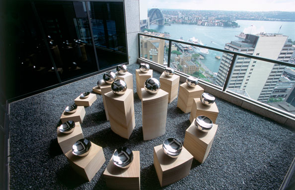 Time and Tide (wait for no man), 2004, JP Morgan Chase,<br /> Level 32 Grosvenor Place, Sydney, NSW, Australia<br /> Sandstone, stainless steel, onyx and pebbles<br /> 1.25 by 3.7 by 3.17 m
