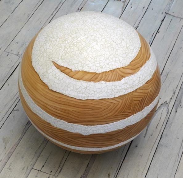 Tsukimi Whorl: No. 1<br /> 2011, Radiata Pine, duck eggshell, 50 cm diameter sphere