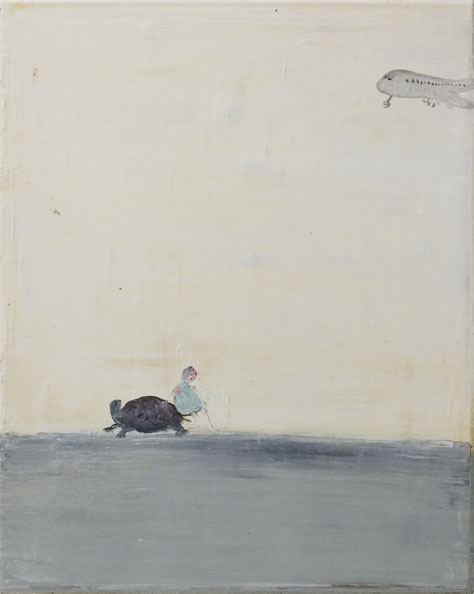 'A girl, a turtle and a plane', 2010, oil on canvas, 40 x 50 cm
