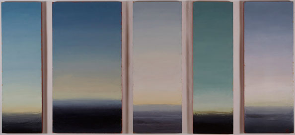 'First Proposition: chromatic scheme for autumn twilight', 2013, oil and beeswax on linen, 5 panels, 151 x 334 cm overall, with 12.5 cm spacing (2 panels 46 cm wide, 2 panels 56 cm wide, 1 panel 80 cm wide)