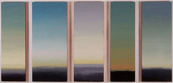 'Second Proposition: chromatic scheme for autumn twilight', 2013, oil and beeswax on linen, 5 panels; 151 x 320 cm overall, with 12.5 cm spacing (2 panels 46 cm wide, 2 panels 56 cm wide, 1 panel 66 cm wide)