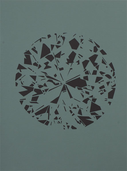 'Diamond (green)', 2009, 40 x 30 cm, cut-out, framed