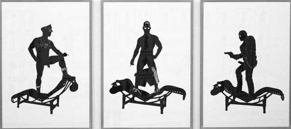 'Tom, Oliver and Rob on LC4's', 2011, 3 panels of 70 x 100cm, cut-out
