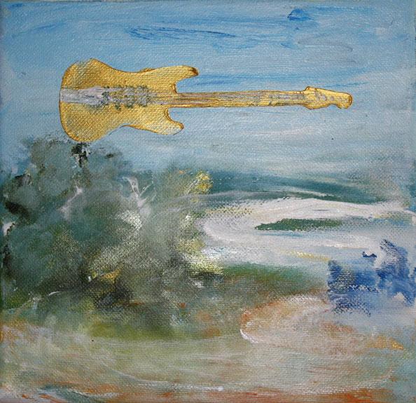 'Air Guitar', 2014, acrylic/canvas, 20 x 20cm