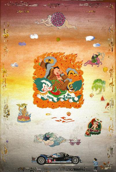 'Dorje Legpa', 2012-14, acrylic/linen, 61x92cm, with Daniel Bogunovic & Yiwon Park