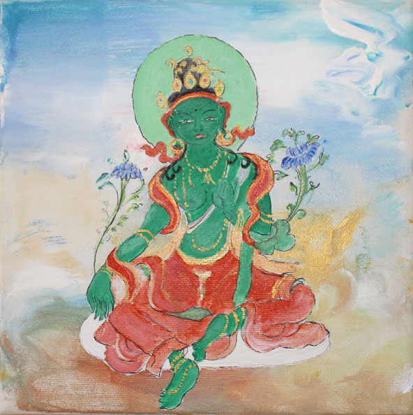 'Green Tara', 2014, acrylic/canvas, 20 x 20cm