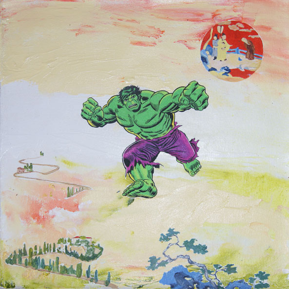 'Hulk', 2014, acrylic on canvas, 46 x 46cm, with Daniel Bogunovic