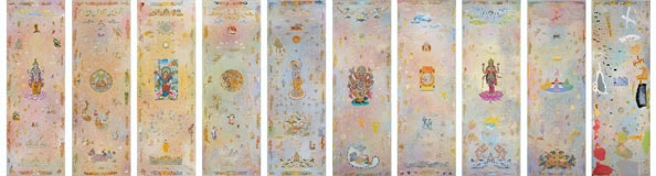 'Indivisible Painting', 2013, acrylic/linen, 10 panels, 183 x 61cm each, with Karma Phuntsok and Nava Chapman