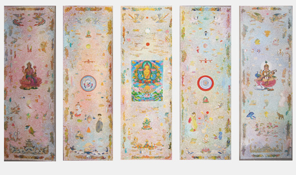 Tim Johnson, Nava Chapman, Karma Phuntsok and Yiwon Park, 'Repetition', 2010, synthetic polymer paint on linen, 183 x 307 cm, 5 panels (each 183 x 61 cm)