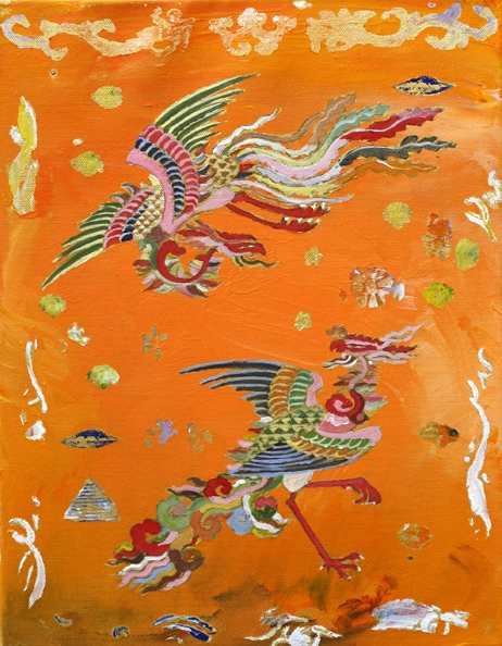 'Phoenix Embroidery', 2009, synthetic polymer paint on canvas, 46 x 36 cm