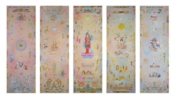 'White Tara', 2013, acrylic/linen, 5 panels,183 x 61cm each, with Karma Phuntsok and Yiwon Park